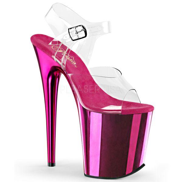 Durchsichtige Riemchen Sandalette mit hot pink verchromtem Plateau FLAMINGO-808